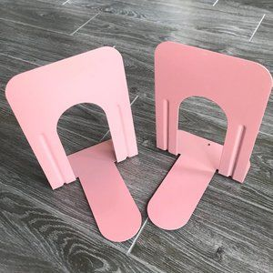 VINTAGE Blush Dusty Pink Metal Library Bookends